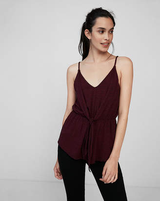 Express Striped Double Layer Tie Front Tank