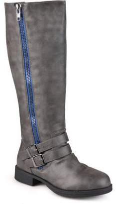 Co Brinley Womens Wide-Calf Knee-High Side-Zipper Buckle Riding Boot