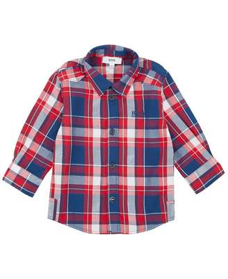 HUGO BOSS Kids Checked Logo Shirt