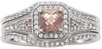 MODERN BRIDE 1 1/4 CT. T.W. Diamond and Genuine Pink Morganite Sterling Silver Bridal Ring