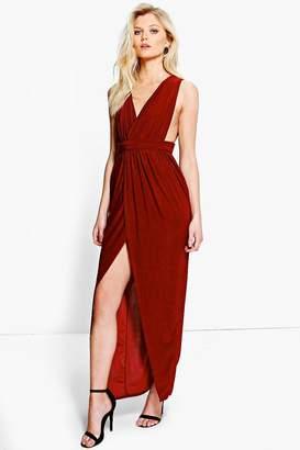 boohoo Petite Plunge Drape Maxi Dress