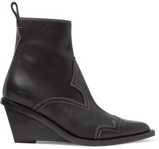 MM6 MAISON MARGIELA Nubuck Wedge Ankle Boots - Black