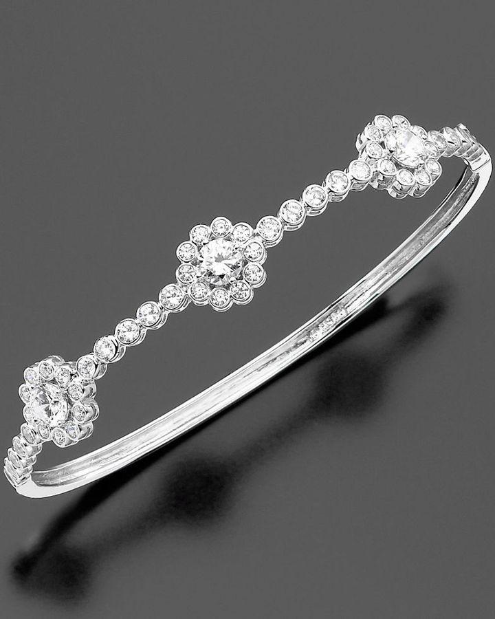 CRISLU Sterling Silver Cubic Zirconia Flower Bangle Bracelet (3-3/8 ct. t.w.)