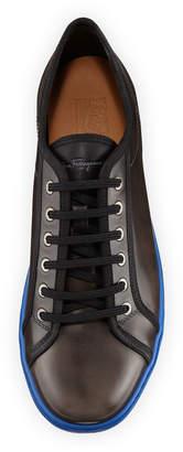 Salvatore Ferragamo Men's Lace-Up Sneakers with Contrast Heel