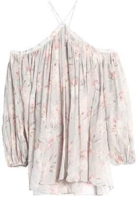 Zimmermann Cold-Shoulder Floral-Print Silk-Georgette Blouse