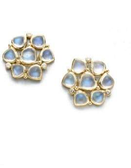 Temple St. Clair Royal Blue Moonstone, Diamond& 18K Yellow Gold Cluster Earrings