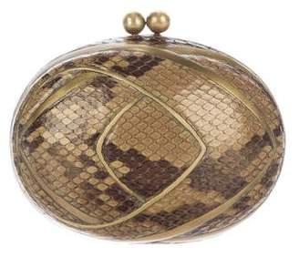 R & Y Augousti R&Y Augousti Python & Brass Evening Clutch