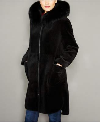 The Fur Vault Fox-Trim Hooded Lamb Fur Coat