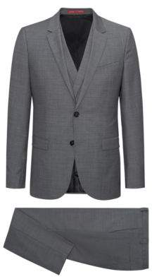 HUGO Boss s Wool 3-Piece Suit, Extra Slim Fit Admon/Wilms/Hesten 44R Grey