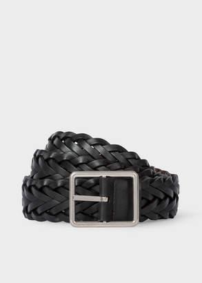 Paul Smith Men's Black Reversible Plaited Leather Belt