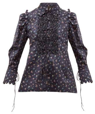Horror Vacui Electra Smocked Floral Print Cotton Blouse - Womens - Navy Multi
