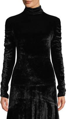 Josie Natori Mock-Neck Ruched Long-Sleeve Velvet Top