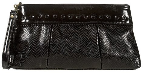 Xhilaration® Faux Snake Skin Clutch - Black