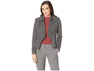 Anne Klein Herringbone Open Cascade Trench Coat