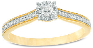 1/6 CT. T.W. Diamond Vintage-Style Promise Ring in 10K Gold