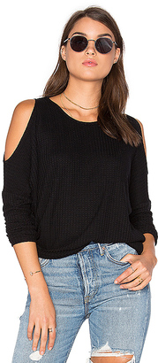 Chaser Cold Shoulder Dolman Thermal Tee in Black $72 thestylecure.com