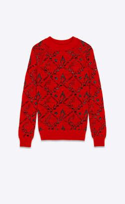 Saint Laurent Knitwear Tops Sweater In A Red Floral Jacquard Knit Red 10