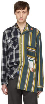 Miharayasuhiro Navy Mix Pattern Shirt