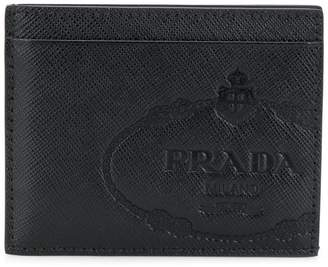 Prada logo embossed Saffiano card holder