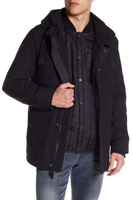 Cole Haan 3-In-1 Faux Fur Lined Military Oxford Utility Jacket