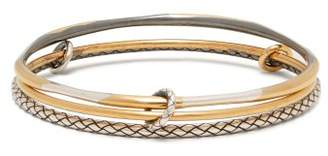 Bottega Veneta Triple Linked Sterling Silver Bangles - Womens - Gold