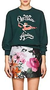 """Off-White Women's Airlines"""" Cotton Crop Sweatshirt-Dk. Green"""