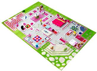 Little Helper 3D Childrens Play Rug in Playhouse Design, Green/Multicoloured (100 x 200cm)