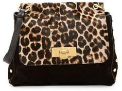Donna Karan Medium Bay Leopard Print Calf Hair and Leather Satchel