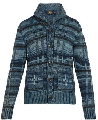 Rrl - Shawl Collar Cardigan - Mens - Blue Multi