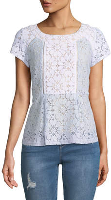 Nanette Nanette Lepore Short-Sleeve Colorblock Lace Blouse