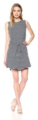 True Grit Dylan by Women's Soft Cotton Montauk Stripe Tie Waist Tank Dress with Pockets