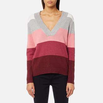 Gant Women's Multi Color Striped V-Neck Jumper