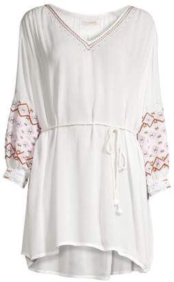 OndadeMar Embroidered Tie-Waist Crepe Tunic