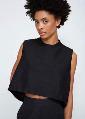 Kaarem Wind Chime Silk Raised Collar Top