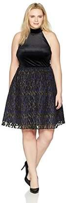 Chetta B Women's Plus Size Sleeveless Choker Neck Cutaway Party Dress