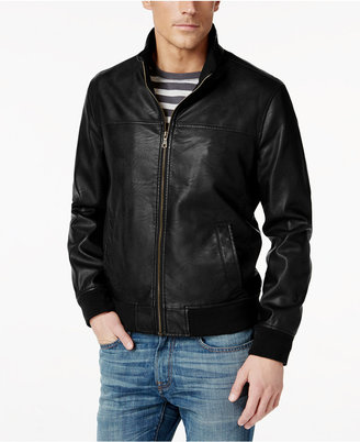 Tommy Hilfiger Faux-Leather Stand-Collar Bomber Jacket $195 thestylecure.com