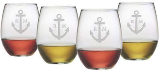 Susquehanna Glass Personalized Anchor Stemless Wine Glass