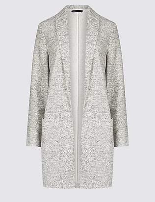 M&S Collection Cotton Rich Textured Open Front Coat