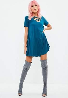Missguided Blue Cross Front Swing Dress