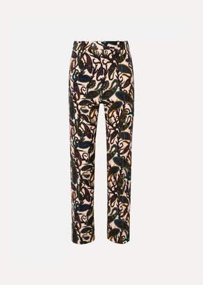 Chloé Printed Cotton-blend Velvet Straight-leg Pants