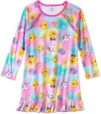 Komar Kids Big Girls Emojis Design Long Sleeve Sleep Gown/Nightgown Light Fleece Sleepwear Pajamas (Large)