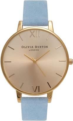 Olivia Burton Sunray Leather Strap Watch, 38mm