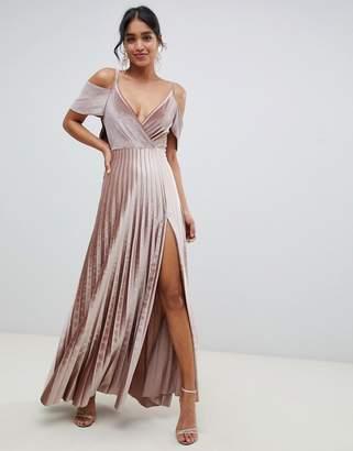 Asos Design DESIGN Pleated Velvet Cold Shoulder Back Maxi Dress