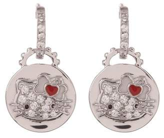 Hello Kitty Sterling Silver Heart Bow Swarovski Crystal Accented Disc Earrings