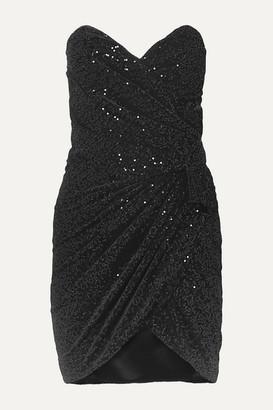 Saint Laurent Strapless Ruched Sequined Velvet Mini Dress - Black