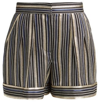 Peter Pilotto High Rise Striped Shorts - Womens - Navy Multi