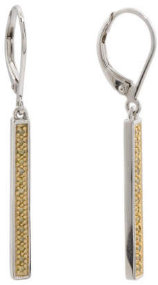 Sterling Silver And Yellow Diamond Stick Earrings