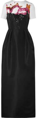 Oscar de la Renta Embellished Two-tone Silk-faille Gown - Black