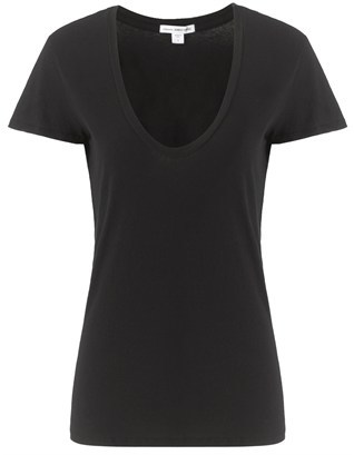 James Perse White Cotton Scoop Neck Tee