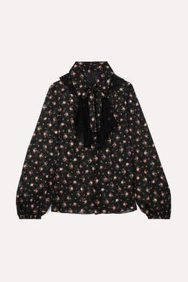 Anna Sui Pussy-bow Lace-trimmed Floral-print Devoré-georgette Blouse - Black